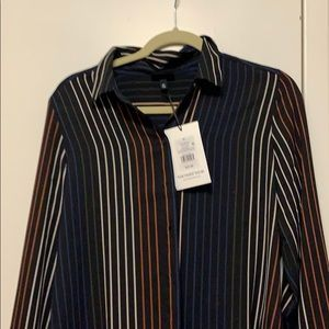 Brand new button down pinstripe blouse.